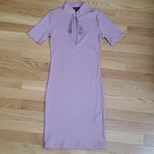 NWOT Purple Frog Closure Mandarin Collar Dress 💜